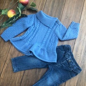 🎟 blue sweater and jeans